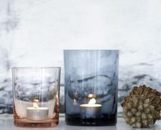 By Nord - Nordlys lille mundbl�st glas - farve rosalin