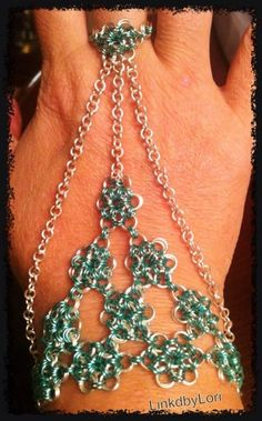 Japanese Hand Flower in teal and silver! | Linkdbylori - Jewelry on ArtFire