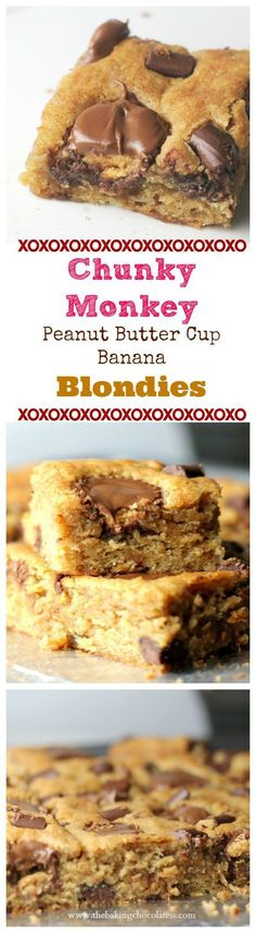 Chunky Monkey Peanut Butter Cup Banana Blondies