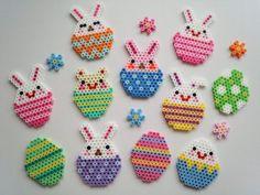 Hama iron on beads Easter decoration. - Hama iron on beads Easter decoration. Hama Beads Design, Diy Perler Beads, Perler Bead Art, Pearler Beads, Fuse Beads, Pearler Bead Patterns, Perler Patterns, Loom Patterns, Quilt Patterns