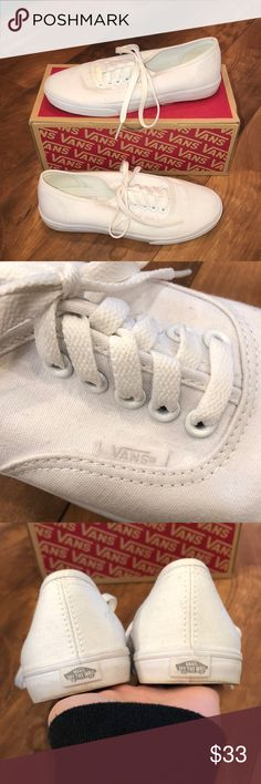 Vans White vans. Worn maybe twice, in great condition. Size 5.5 women's, 4 mens. Vans Shoes Sneakers