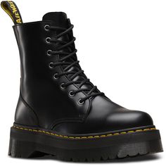 Dr. Martens Leather Jadon Platform Boots (9.895 RUB) ❤ liked on Polyvore featuring shoes, boots, black, real leather boots, slip resistant boots, leather platform boots, slip resistant shoes and black slip resistant shoes