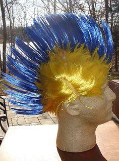 Blue Gold Yelow Mohawk Rocker Wig School Spirit Sporting Events Parties Fun   eBay FLOUNDER!!!! Mermaid Costume Makeup, Little Mermaid Costumes, Little Mermaid Parties, The Little Mermaid, Flounder Costume, Pep Club, Mohawk, Rocker, School Spirit