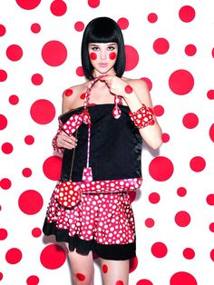 But the highlight in this Year of Kusama that will make your fashion heart sing is a collaboration with Louis Vuitton designer Marc Jacobs on a Ready-to-wear and accessories collection, to be launched in July. The pieces in the collection interpret Kusama's art, known for her use of organic shapes and so-called 'infinity nets', monochrome fields of one and the same shape repeated over undulating surfaces, and transfers them onto garments, leather goods, shoes and even jewellery.