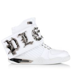 Philipp Plein Bye High-Top Sneakers ($1,045) ❤ liked on Polyvore featuring men's fashion, men's shoes, men's sneakers, mens sneakers, mens black leather high top sneakers, mens white shoes, mens high top sneakers and mens white leather shoes