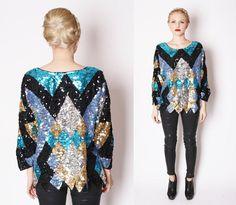Couture Vintage Harlequin Sequin Avant Garde Top / par aiseirigh, $202,00