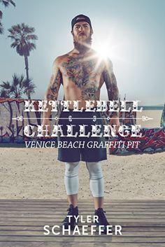 """Coach T fordert dich am legendären Venice Beach zum intensiven Kettlebell-Workout heraus. Zu harten Riffs absolvierst du ein Ganzkörpertraining nach der Tabata-Methode: Bei jeder Übung gehst du achtmal für je 20 Sekunden an dein Limit. Mit Power-Moves wie dem """"Upright Row Squat"""" baust du Muskeln auf und verbrennst effektiv Fett. Bist du bereit? #EscapeEverydayLife #cyberobics"""