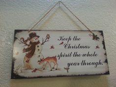 Christmas Spirit Snowman Wooden Sign Vintage by AutumnRoseCottage, $16.00