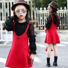 $26.90 (Buy here: https://alitems.com/g/1e8d114494ebda23ff8b16525dc3e8/?i=5&ulp=https%3A%2F%2Fwww.aliexpress.com%2Fitem%2FGirls-Autumn-Spring-Students-Wear-Lace-T-shirt-Strap-dressTwo-Piece-Suit-Kids-Clothing-Sets-Black%2F32738138790.html ) Girls Autumn Spring Students Wear Lace T-shirt Strap-dressTwo Piece Suit Kids Clothing Sets Black Red Cotton for just $26.90