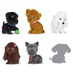 """Puppy In My Pocket 6-Piece Set Just you wait! This pack of teeny-tiny, itsy-bitsy 2"""" H mini-doggies comes with one secret puppy that is exclusive to Avon. Ages 6 and up. Plastic.In the event of unforeseen demand, please allow 2 extra weeks for delivery. #toys"""