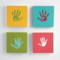 Handprints on canvas
