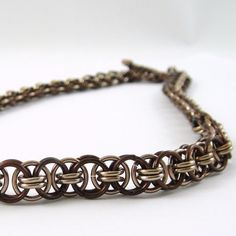 Chainmail Necklace Helm Parallel Weave Bronze by HCJewelrybyRose, $30.00