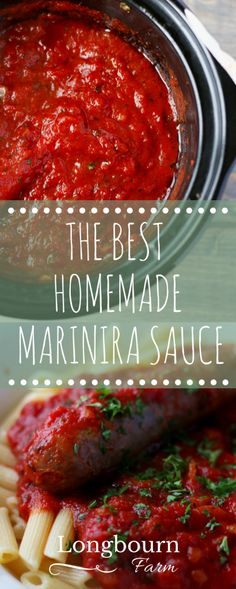 This homemade marinara sauce is easy to make in the crock pot and tastes better than anything you could buy at the store! How-to recipe video in the post!