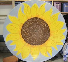 Painting Satellite Dish | Old satellite dish painted sunflower ! This was my kids project during ...