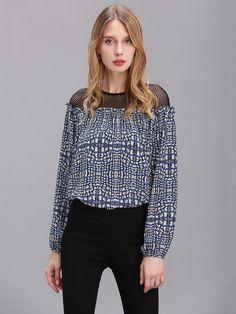 Sale 20% (23.05$) - Women Printing Chiffon Lace Hollow Long Sleeve Shirt