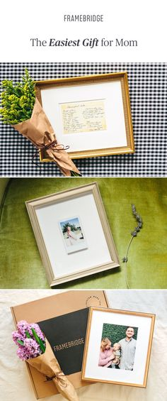 The easiest gift for mom is custom-made for her, affordable, and framed by Framebridge. Easy Gifts, Gifts For Mom, Picture Frame Art, Beautiful Gifts, Custom Framing, Framed Art, Gift Ideas, Day, Pictures