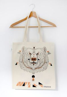 Organic Cotton Tote Bag URSUS by MOZAIQ on Etsy, $21.40