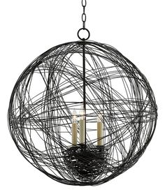 A captivating, nest-like vision, this orb chandelier is understated yet beguiling with its endless wires wrapping and wrapping to form a ball of wire that encases a nest of wire. Sculpted of wrought i