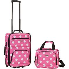 Rockland Expandable Pink Dot Lightweight Carry-on Luggage Set - Overstock™ Shopping - Great Deals on Rockland Two-piece Sets Best Luggage, Luggage Sets, Travel Luggage, Travel Bags, Cheap Luggage, Lightweight Carry On Luggage, Girls Luggage, Pink Luggage, Shopping