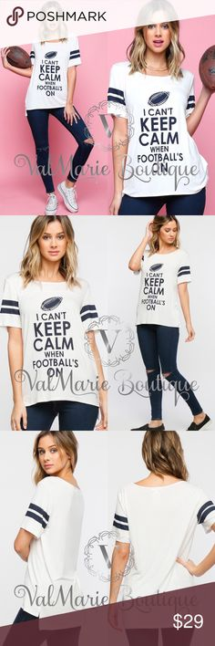 Football Shirt MADE IN USA- celebrate your love for football all year long with this adorable top. Mega soft and made of 95% rayon, 5% Spandex so won't shrink! Short sleeve tee with yoke panel, stripes on sleeves that are navy against an ivory bodice. Runs casually true to size. S(2-4) M(6-8) L(10-12) ValMarie Boutique LLC Tops