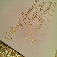 Recent Calligraphy: Gold Envelope Calligraphy | Calligraphy by Jennifer