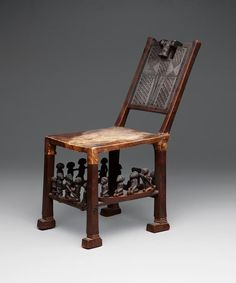 Chair with head on back and figures on rungs. Date: late 19th to early 20th century.  Angola and Democratic Republic of the Congo. Culture: Chokwe peoples