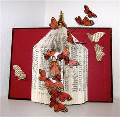 """Altered book """" A  fairy Tale Touch of Spring""""."""