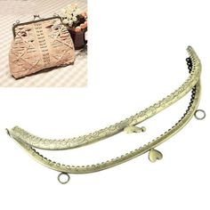 4PCs Metal Purse Bag Frame Kiss Clasp Lock Bronze Tone 20.5cmx10cm B31706