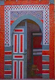 Moroccan Door in red and gray-totally love the mix of red and gray