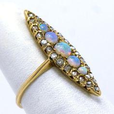 Victorian 14KT Opal and Diamond Ring by JMPierceJewelry on Etsy, $659.00