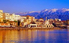 Chania, Crete is overlookoed by the White Mountains