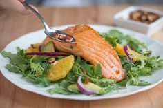 Warm Salmon, Avocado & Orange Salad | The Dr. Oz Show | Follow this Dr. Oz Recipe board Now and Make it later! -- Dig in to this scrumptious salad with salmon, a high-quality protein source rich in vitamins and omega-3 fatty acids.