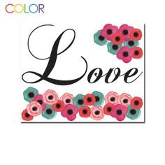 Printable Art Love with floral art by Create by ColorPrintables, $5.00