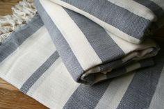Linen Pestemal Towel - Slate Stripe