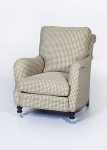Our best selling club chair in a cucumber green & cream houndstooth w/chrome casters & nails.