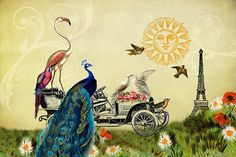 Whimsical Art Girls Room Decor Bird Print Vintage Prints