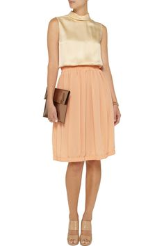 Chloé Silk-satin and crepe dress - 75% Off Now at THE OUTNET