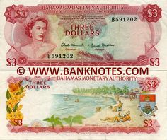 Bahamas 3 Dollars 1968  Front: HM Queen Elizabeth II; Palm tree fronds. Back: Yellow Elder (Tecoma Stans, Yellow Trumpetbush, Ginger Thomas, Esperanza, Yellow Bells) - national flower of the Bahamas; Paradise Beach; Coat of arms. Watermark: Shellfish.