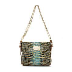 Teal Blue Gold Leather Designer Handbag Crossbody Messenger