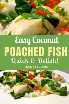 Coconut Poached Fish Is Heaven On A Plate And Healthy Too - Fish Recipes Healthy Tuna Recipes, Vegetarian Recipes, Healthy Eating, Cooking Recipes, Oven Recipes, Cooking Ideas, Poached Fish Recipes, Coconut Fish, Poached Salmon