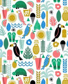 Tropical Vacation Island print pattern fun beach surf sand fun gift for trendy dorm room bright Art Print by charlottewinter Tropical Fabric, Tropical Pattern, Tropical Art, Surface Pattern Design, Pattern Art, Print Patterns, Animal Patterns, Wrapping Paper Design, Bright Art