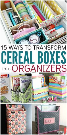 Buying containers and boxes to store and organize things can be expensive but here is an idea use cereal boxes as organizers.
