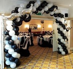 A Classic Spiral Balloon Entrance Arch sets the tone for this masquerade theme event Masquerade Party Decorations, Masquerade Ball Party, Sweet 16 Masquerade, Masquerade Wedding, Masquerade Theme, Prom Decor, Balloon Decorations, 60th Birthday Party, Sweet 16 Birthday