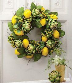 Gorgeous Spring Wreath Decor Idea For Your House 19 Wreaths For Front Door, Door Wreaths, Burlap Wreaths, Fall Wreaths, Christmas Wreaths, Floral Wreaths, Christmas Decor, Corona Floral, Lemon Wreath