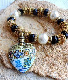Portugal  Antique Azulejo Tile Replica Heart Bracelet   by Atrio
