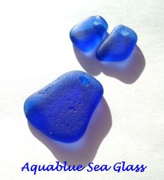 1 Set Of Cobalt Blue  Sea Glass Drilled For by aquablueseaglass, $13.99