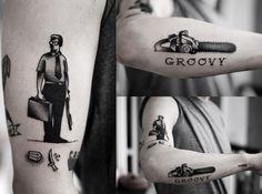 Kamil Czapiga: Tattoo 2013. Michael Douglas, Falling Down / Evil Dead Chainsaw - Groovy