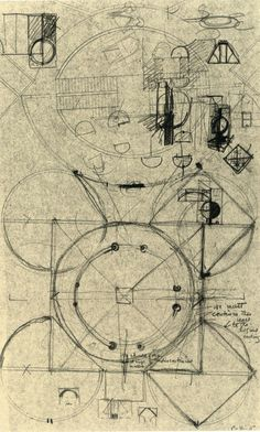 Louis Kahn preliminary drawing for the National Assembly building Bangladesh 1963-1982