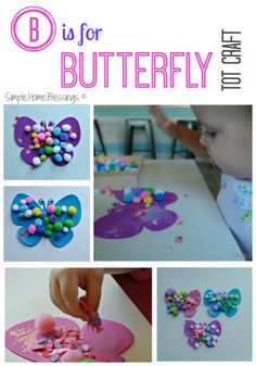 B is for Butterfly Tot Craft - good for a group of toddlers!