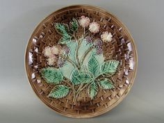 Antique Majolica Plate ca.1890. Blackberries, Basketweave